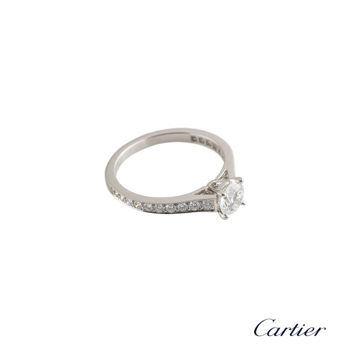 Cartier Platinum Diamond 1895 Solitaire Ring 0.44ct E/VS1 Size 49 N4164649